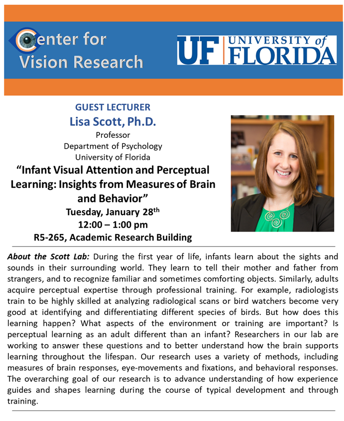 "Lisa Scott PhD to speak Tuesday January 28, 2020 at 12-1pm R5-265, Academic Research Building. ""Infant Visual Attention and Perceptual Learning: Insights from Measures of Brain and Behavior""."